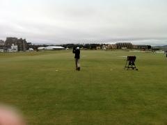 10-12-12 Neerav tees off hole 1 Old Course