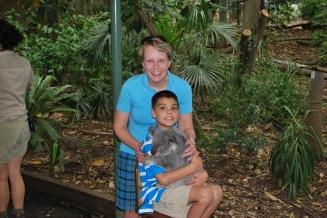 11-28-09 Shellie & Aidan cuddling koala