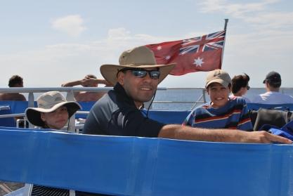 11-30-09 Aidan, Neerav & Nathan boat flag