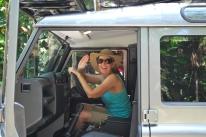 12-1-09 Shellie behind Land Rover wheel