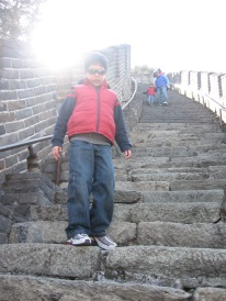 3-24 Boys climb down stairs