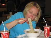 3-26 Shellie eats bday noodles