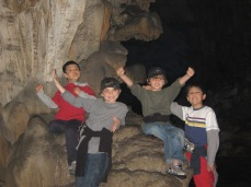 3-29 Boys inside Reed Flute Cave