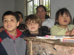 3-31 Aidan, Truman, Erin listen to Mandarin lesson