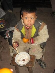 3-31 Boy noodle lunch, orange