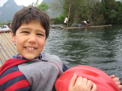 3-31 Nathan on bamboo raft