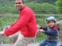 3-31 Neerav & Aidan tandem bike