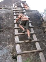 7-17 Nathan climbs ladder