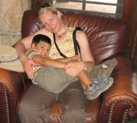 7-20 Shellie & Aidan resting Grand Canyon Lodge sized