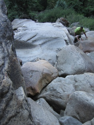 7-29 Neerav & Aidan climbing boulders