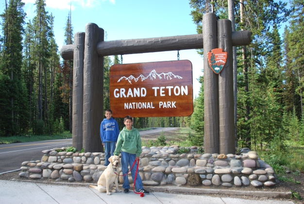 8-14-10 Boys & Nilla Grand Teton sign