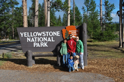 8-14-10 Family Yellowstone sign