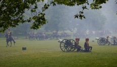 After the gun salute, the horses gallop back to retrieve the cannons.