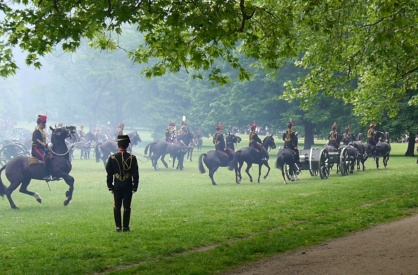 """And off they go. Note the """"dancing"""" horse on the left. It was all very regal."""