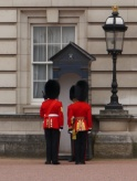 One of many guards at Buckingham Palace about to be relieved of his duties.