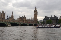 The Palace of Westminster (Parliament) with the Elizabeth Town (Big Ben) and Westminster Bridge viewed from across the Thames River.