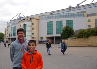 Nathan and Aidan outside Stamford Bridge.