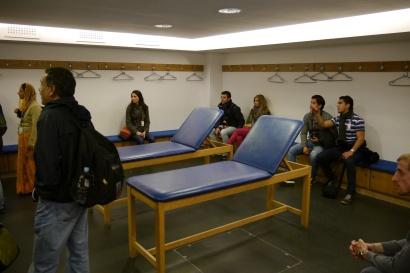 The meager away team locker room.