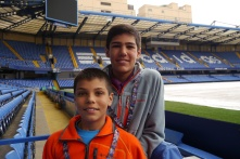 Aidan and Nathan next to the pitch.