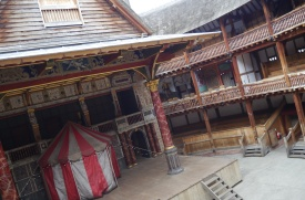 Inside of Shakespeare's Globe Theatre along the Thames River.