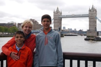 Aidan, Shellie and Nathan with the Tower Bridge.