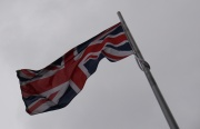 The Union Jack flying on a gray London afternoon.