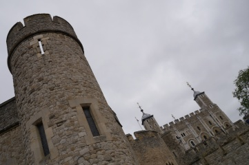 The Tower of London along the Thames River.