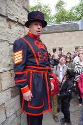 The Yeoman Warders, also known as Beefeaters, guard the Tower of London and give tours.