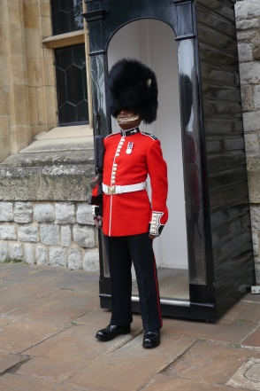 Guard outside of the Crown Jewel House at the Tower of London.