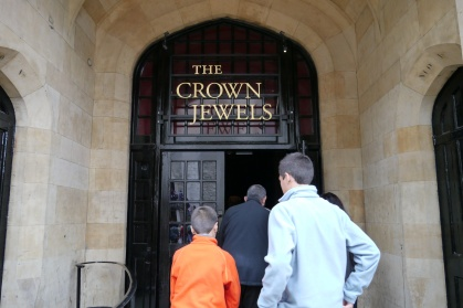 The Crown Jewel House at the Tower of London. No photos, allowed. Inside we saw the Crown Jewels, including the Royal Sceptor with a 530.2 karat diamond. Really.