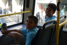 Aidan and Nathan on city double-decker bus.