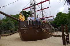 Jonas, Aidan, Nathan, and Anders on private ship at Princess Diana Memorial Playground in Hyde Park. This place was awesome!