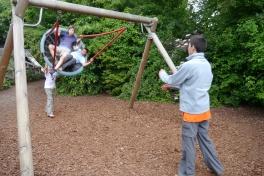 Jonas and Aidan holding on for dear life.