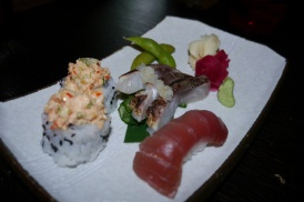 Jonas' sushi plate at Maze Grill.