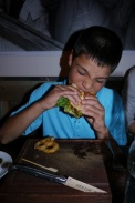 Aidan orders... a cheeseburger.