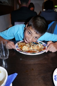 Aidan can't quite finish all those mashed potatoes.