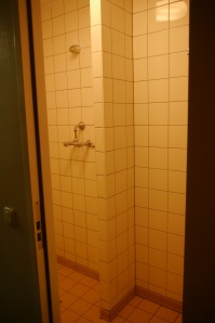Aidan didn't like that the shower room smelled of mildew. At least, he's not sharing a shower room with the floor!