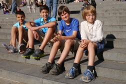 Boys on steps of St. Paul's Cathedral