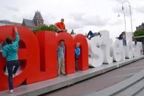 Aidan, Nathan, and Shellie at I AMSTERDAM.