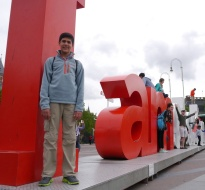 """While I was taking a photo of Nathan, look what Aidan decided to do atop the letter """"d."""" Yikes!"""