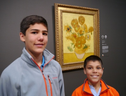 Nathan and Aidan in front of Sunflowers.