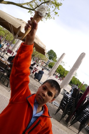 After museums, Aidan reaps an ice cream reward.