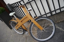 Cool wooden bicycle.