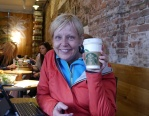 Shellie at Starbucks across from the Floating Flower Market. We spent more than an hour there using the free Wi-Fi.