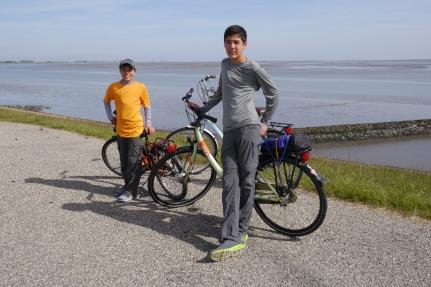 Aidan and Nathan along the Waddenzee
