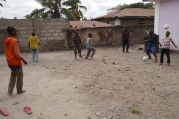 Dirt courtyard where boys play