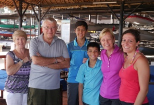 Our hosts: Angela, Ermanno, and their daughter, Annalise at the Dar es Salaam Yacht Club.