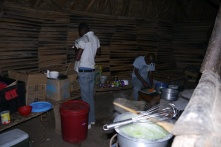 The makeshift kitchen where Gideon prepares dinner in the dark