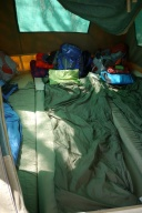 Three people inside a 2-person tent. Ugh.