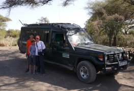 Nathan, Shellie, and Aidan in front of the Land Cruiser